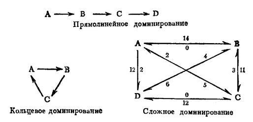 Системы ранжирования в разных популяционных группировках. Буквами обозначены отдельные особи, цифрами — число случаев доминирования. (По Наумову и Карташеву, 1979.) Это стандартный взгляд, критикуемый в данной статье