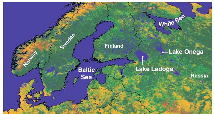 """Рисунок 2. Потенциальный бумеранг. Заготовка леса на северо-западе России, особенно в трех критически значимых """"лесных коридорах"""" между Белым морем, Онежским и Ладожским озерами и Балтийским морем, может привести к нарушению экологической связи лесов Финляндии и Скандинавии с крупными лесами России (сомкнутые и разреженные леса обозначены темно- и светло-зеленым цветами, другие типы ландшафтов - коричневым и желтым). [Источник: (34)"""