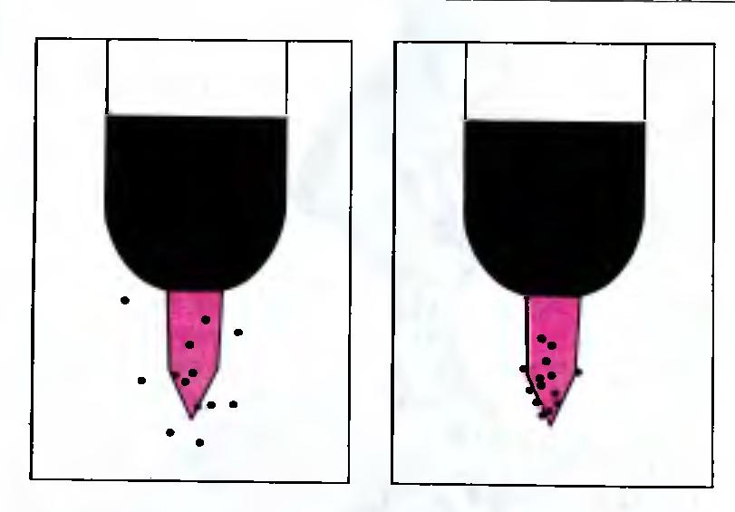 Рис. 11З. Для проверки точности клевков птенцам предъявлялись карточки со схематическим изображением головы взрослой чайки. Клевки отмечены точками. Слева - результат эксперимента, проведенного с только что вылупившимся птенцом, справа - с тем же птенцом через два дня.