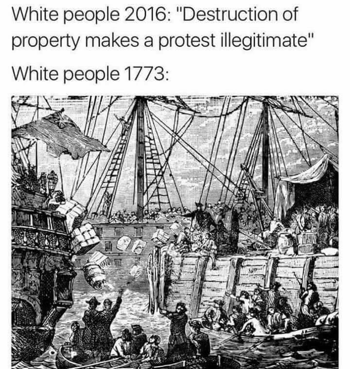 Леворадикальные террористы разрушают частную собственность в Бостоне, 1773