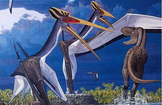 Гигантские аждархиды Quetzalcoatlus и хищный динозавр Daspletosaurus. Реконструкция: Gregory Paul