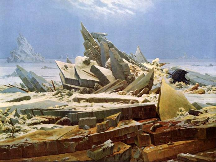 """Статья иллюстрирована картинами самого известного художника-романтика Каспара Давида Фридриха. """"Гибель надежды во льдах"""""""