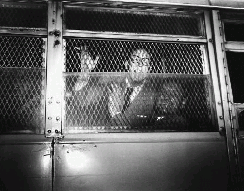 Далтон Трамбо и Джон Ховард Лоусон в полицейском фургоне после оглашения приговора, 1950