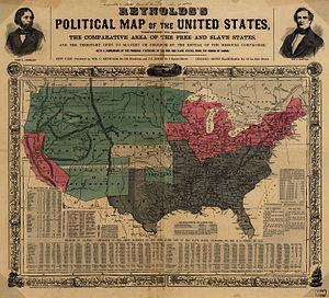 Карта 1856 года. Серые – аграрии-рабовладельцы, розовые – свободные промышленные и фермерские штаты, зелёные – Территории с неопределённым статусом по «рабскому вопросу», белый – Канзас.
