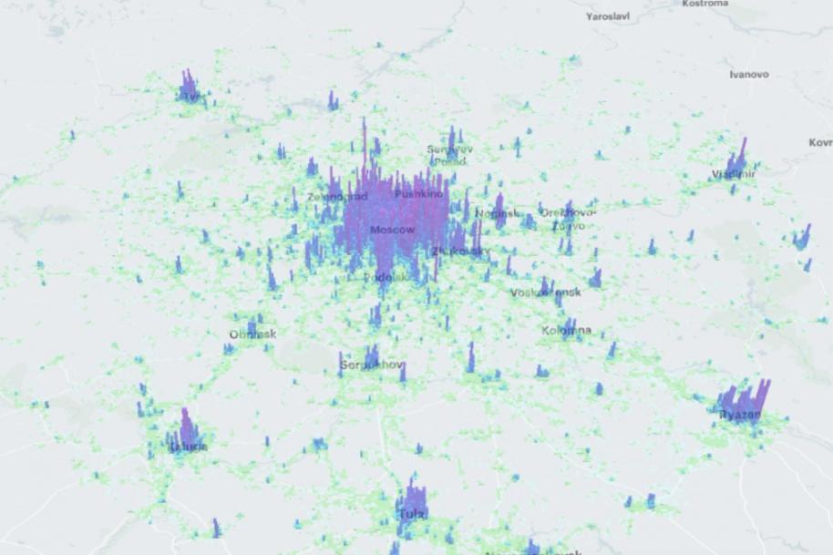 Карта плотности населения. Москва