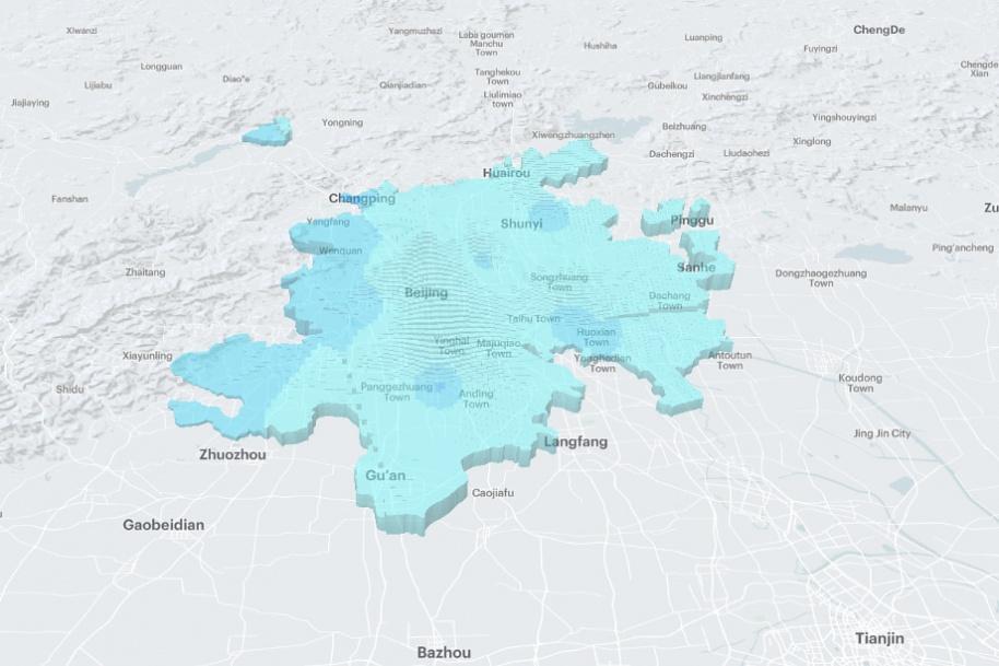 Карта соотношения плотности рабочих мест и жилья. Пекин