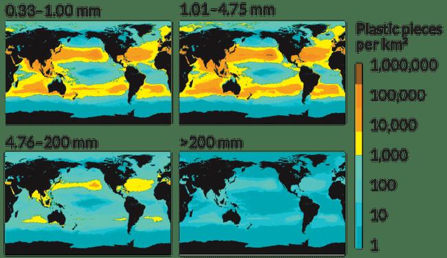 Концентрация пластиковых фрагментов разного размера на поверхности Мирового океана. Иллюстрация: Eriksen et al., 2014 / E. Otwell, Science News.