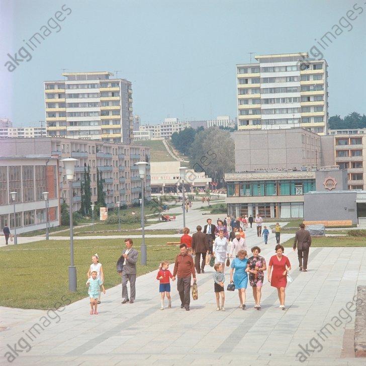 9. Пешеходные зоны расположены отдельно от магистралей. 1974 год.