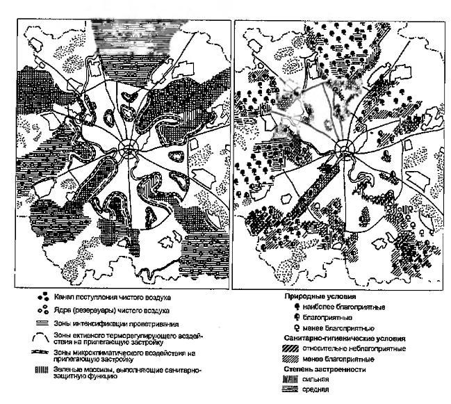 Рис. 17.1 (слева). Комплексная оценка зеленых клиньев с позиций оздоровления окружающей среды Москвы Рис. 172 (справа). Комплексная оценка зеленых клиньев для целей рекреации