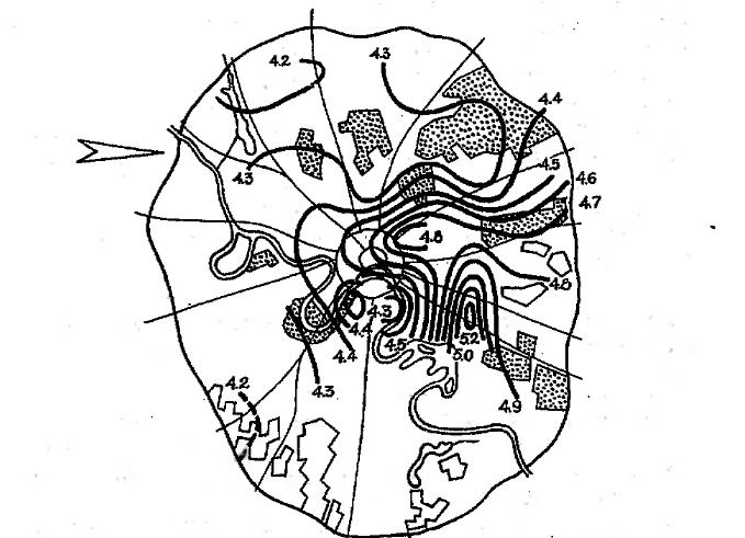 Рис. 17.4. Распределение фактора мутности атмосферы на территории Москвы при западном ветре