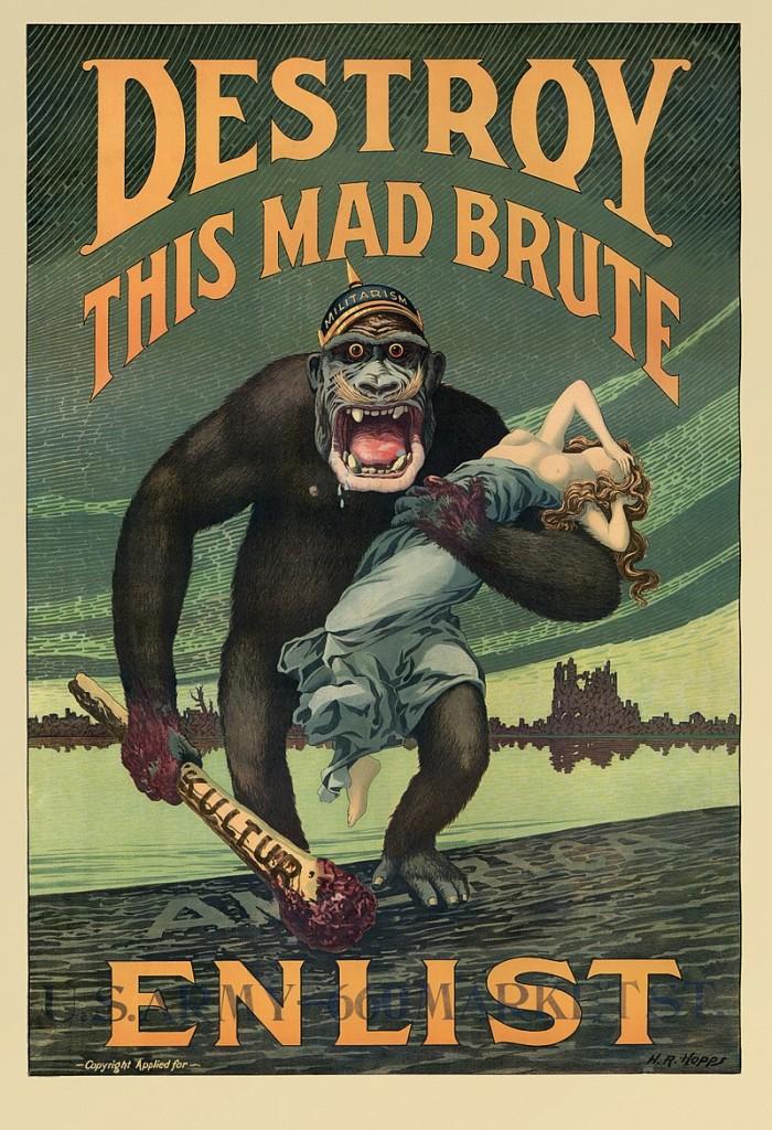 """Американский плакат, нагнетавший ненависть к Германии для вступления в войну. Дубинка пересмеивает ту """"культуру"""", от имени которой говорят авторы Манифеста 93-х, и подписи его знаменитых авторов"""