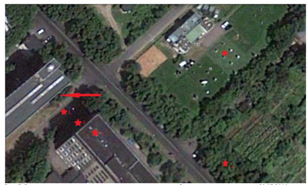 Рис. 7. Расположение точек, для которых производился расчет  биоклиматических индексов 29.07.2010.
