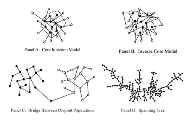Четыре основных сетевых структуры, которые встречаются при передаче инфекционного заболевания. Слева наверху (А) - модель ядро-периферия, где ядро инфицировано и ввиду своего центрального положения передает болезнь по всей сети. Справа наверху (В) - перевернутая модель ядро-периферия, где ядро инфицировано и передает болезнь  другим на периферии, но не передает между собой. Например, секс-работники и дальнобойщики, где дальнобойщики - выделены белым. Слева внизу (С) - модель брокера, где есть различные группы, одна с высокорисковым поведением (например, употребляющие наркотики), вторая - нет (не употребляющие наркотики). Между ними есть брокер, который соединяет их и передает инфекцию в низкорисковую группу. Справа внизу (D) - модель цепи, которая обнаружена в работе Bearman et al (2004). Сеть представляет собой цепь, чтобы дойти от одного конца до другого необходимо проделать множество сетевых шагов. Изображение из статьи Bearman et al (2004).