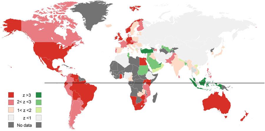 Интенсивность красного показывает величину подъёма интереса к сексу в рождественскую неделю (по z-критерию), зелёного - в Уразу-байрам. Светло-серый - страны без значимых изменений, тёмно-серый - нет данных