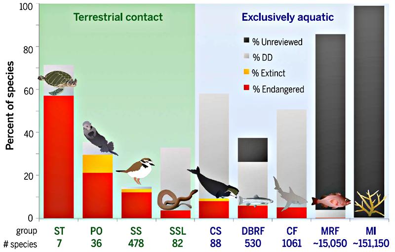 Рисунок 3. Угроза морской дефаунизации. Выделяются следующие категории животных: «вымершие» — желтый цвет, «под угрозой исчезновения» — красный цвет, «недостаточно данных» — светло-серый цвет, «не изучены» — тёмно-серый цвет. ST — морские черепахи, PO — ластоногие и морские куньи, SS — морские птицы и кулики, SSL — морские змеи и ящерицы, CS — китообразные, DBRF — проходные лучепёрые рыбы, CF — хрящевые рыбы, MRF — лучепёрые морские рыбы, MI — морские беспозвоночные. Контактирующие с сушей представлены на светло-зеленом фоне. Рисунок из [2].