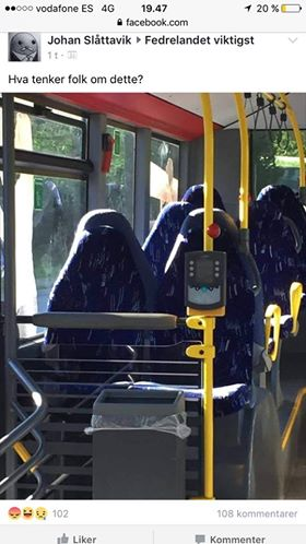"""Норвежский журналист Йохан Слэттавик  опубликовал фотографию пустых мест в автобусе, отдаленно напоминающих группу мусульманок в парандже, на странице сообщества """"Отечество прежде всего"""" (Fedrelandet viktigst) в Facebook. Фотографию снабдили вопросом: """"Что люди думают об этом?"""". Ответом на розыгрыш стал поток комментариев, полных ненависти к иммигрантам из мусульманских стран."""