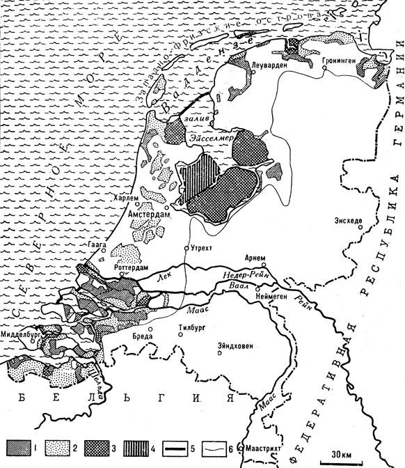 Осушение земель в Нидерландах. Земли, осушенные: 1 — в 1200-1600; 2 — в 1600-1900; 3 — в 1900-1970; 4 — земли, которые могут быть осушены к 1980; 5 — дамбы; 6 — горизонталь +1 м. Эту линию условно можно считать границей освоенных земель в том случае, если бы человек не противостоял морю)