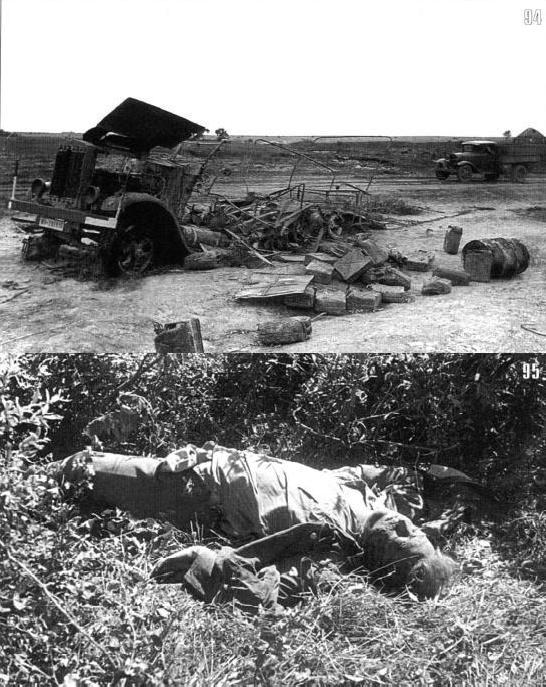 Приехали. Разбитый немецкий грузовик Henschel-33G1 номер WH-269516 и его водитель. Предположительно – 8-я танковая дивизия панцерваффе. Сольцы, июль.