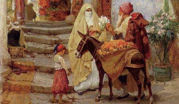 Искусство ориентализма. Символы отсталости: ишак, женщина в белой бурке, босой ребёнок и т. д.