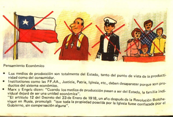 """Антикоммунистическая пропаганда в пиночетовской Чили. """"против чего коммунисты: национальный флаг, церковь (эти , кстати, деликатестов никогда не ели, только хлеб и вода), офицеры (или стюарды?) и семья. Последнее, кстати, напоминает наших ура-патриотов из Антимайдана и ПВО, которые считают, что """"Бездуховный Запад"""" разрушает семью и какеи-то там ценности. Как видим, в Чили были свои Николаи Стариковы во времена Пиночета"""""""