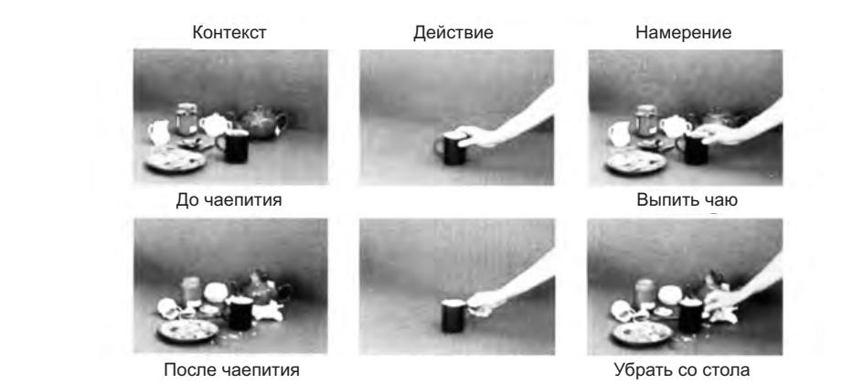 Рисунок 5.3. Видеоклипы, использованные в исследовании корковых зон, включенных в понимание намерений других. Клипы, соответствующие разным экспериментальным условиям, расположены в три колонки: контекст, действие, намерение. В условии контекст (первая колонка) участники эксперимента видели стол, накрытый для завтрака (вверху) и тот же стол после завтрака (внизу). В условии действие (вторая колонка) они видели руку, которая брала чашку со стола, используя при этом либо захват всей кистью (вверху), либо точный захват (внизу). Контекста в этом условии не было.