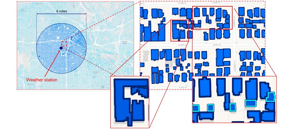 Карта зданий в Чикаго вокруг метеостанции