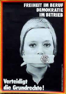"""Плакат против Указа 1972 г. """"Свободу - в профессии, демократию - на предприятия! Защищайте основные права граждан"""""""