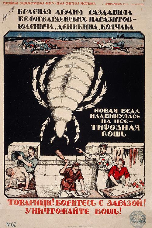 Картинки: противотифовые плакаты эпохи ГВ. Источник Фарид Мамедов