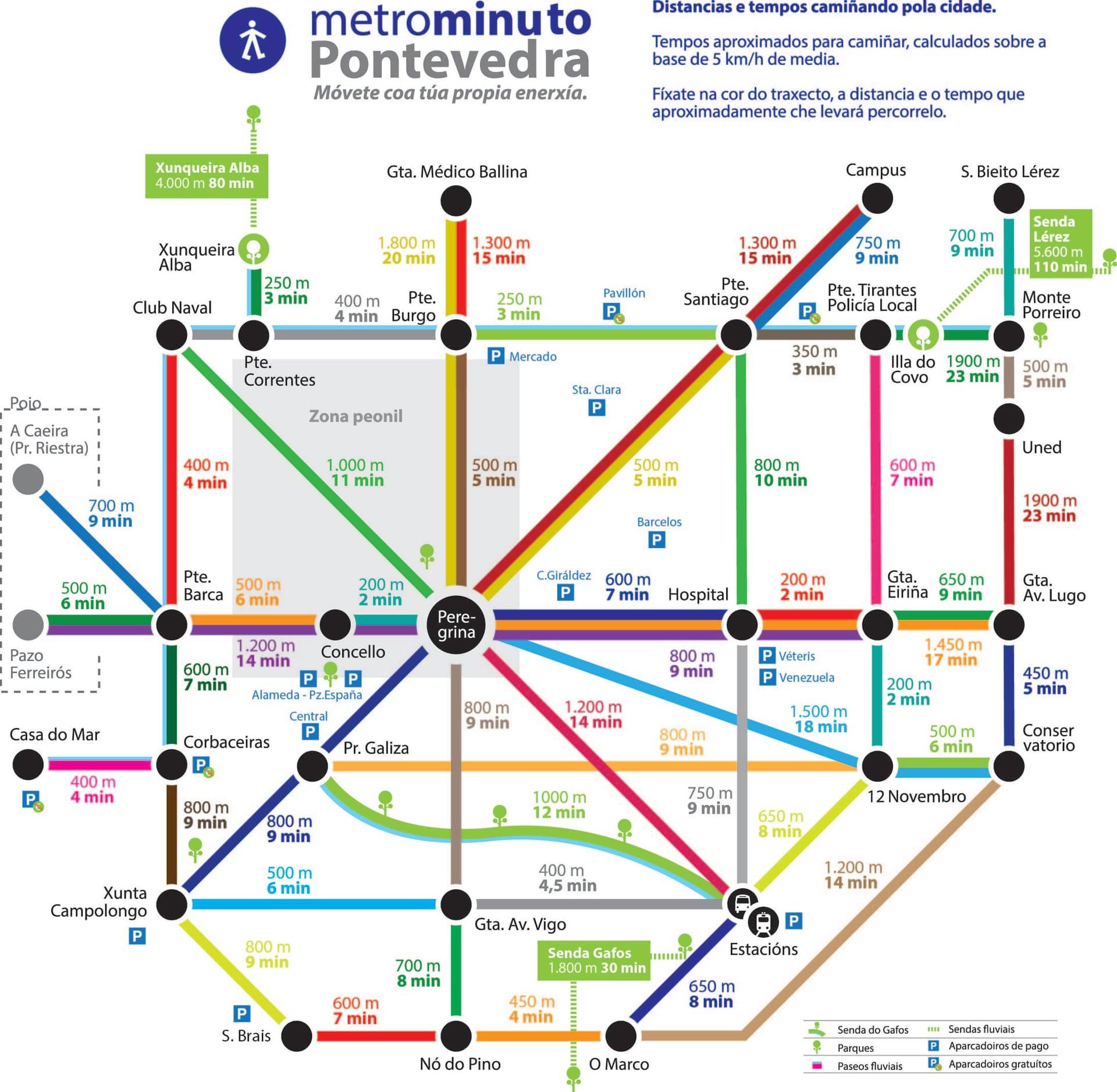 Карта Понтеведры выполненная под схему линий метро, показывает среднее время ходьбы пешком