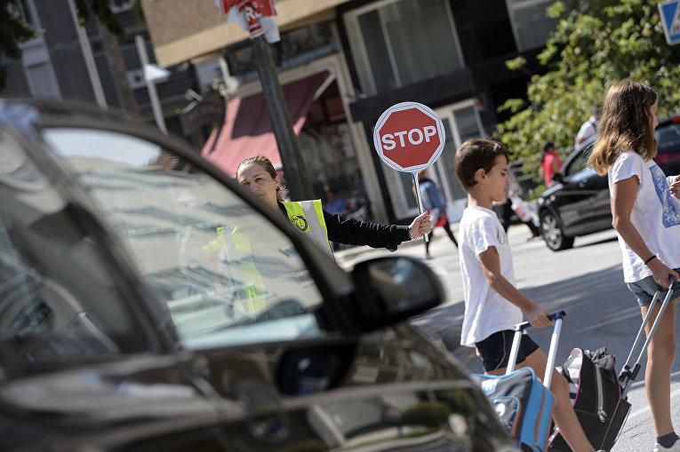 Дорожное движение в городе Понтеведра, Испания.