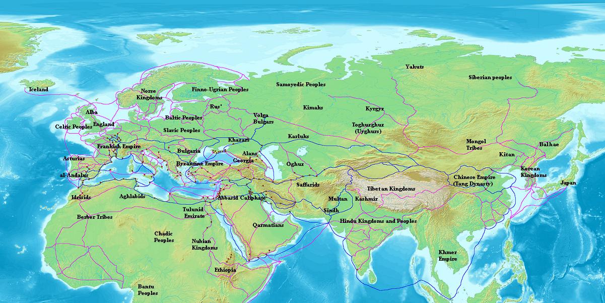 """Карта Евразии с указанием торговых маршрутов раданитов (отмечены синим цветом). Другие торговые маршруты того периода выделены фиолетовым. Из """"Книги путей и стран"""" ибн Хордадбеха"""
