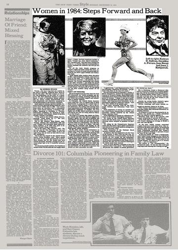 Статья в NYT 1984 г. с обзором побед и поражений (их больше) американок в борьбе за равенство