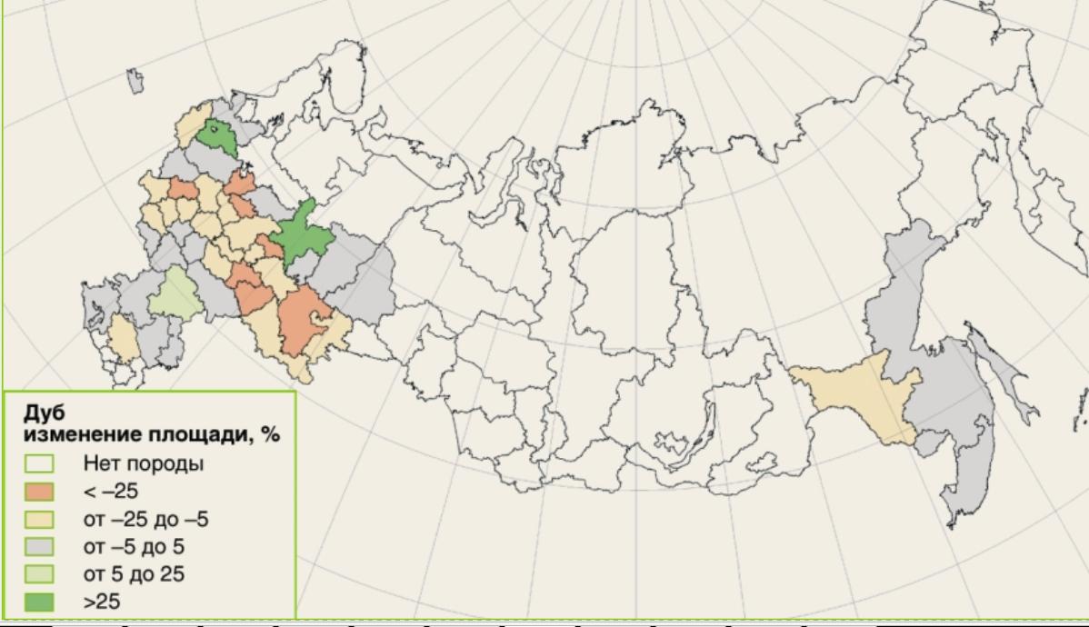 Рис. 3. Изменение площадей лесов с доминированием дуба по субъектам Российской Федерации за 1988-2008 годы [6]