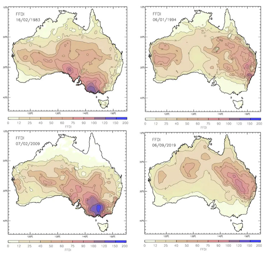 Значения FFDI на территории Австралии (слева направо сверху вниз): 16 февраля 1983 года (Пепельная среда); 6 января 1994 года (сиднейские пожары); 7 февраля 2009 года (Черный четверг); 6 сентября 2019 года. Dr Andrew Dowdy, Australian Government Bureau of Meteorology