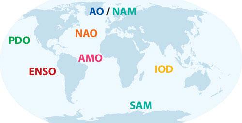 Климатические феномены на карте мира