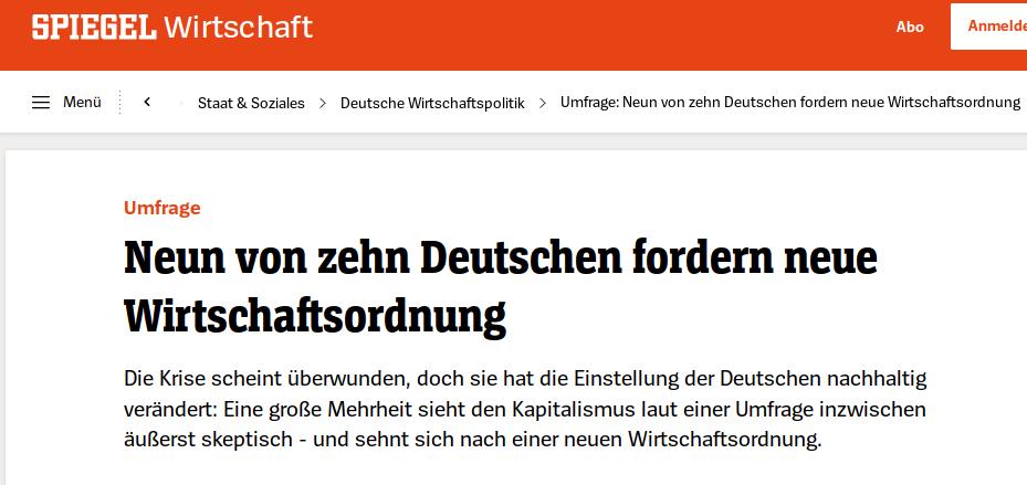"""Уже довольно старая статья из """"Шпигеля"""": 9 из 10 немцев требуют нового экономического порядка. Надпись на стене: """"Капитализм срань"""""""