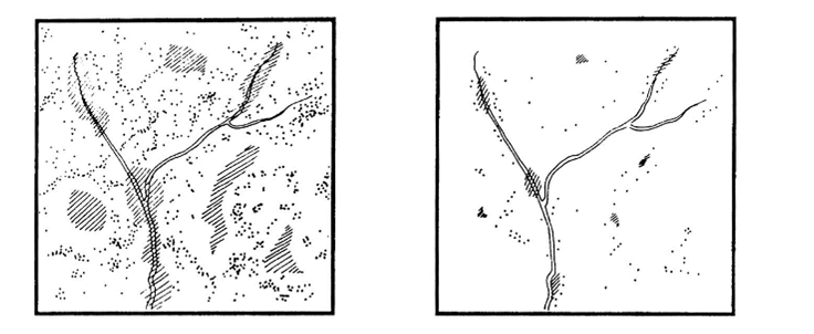 Рис.10. Не всякий лес - местообитание. То же верно для луга, поля или болота. Примечание. Принципиальные различия в распространении «пятен» лиственного леса (в таёжной зоне связанного с «окнами» нарушений в основном хвойном покрове) при естественной динамике лесного ландшафта (слева) и в эксплуатируемом лесу (справа). В природном ландшафте мелколиственный компонент встречается в виде примеси (отдельных деревьев или групп деревьев – точки), как преходящая стадия сукцессии (заштрихованные участки), как стабильные сети и полосы сырых лесов, протягивающихся вдоль водотоков. Источник Angelstam, Mikusinski, 1994.