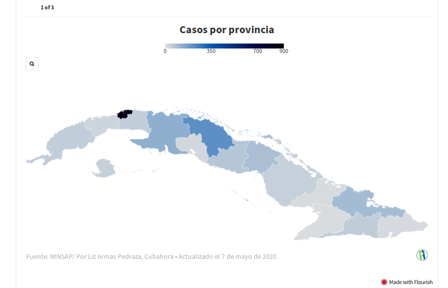 3 картинки ниже. 1 – количество случаев, зафиксированных в провинции. Наиболее пострадавшей от коронавируса провинцией по общему числу случаев является Гавана. Между тем, специальный муниципалитет Исла-де-ла-Ювентуд сообщает о самой высокой плотности заболеваемости (число заболевших на 100 тыс. жителей). 2 – число заболевших по муниципалитетам. Муниципалитет Кубы, наиболее пострадавший от COVID-19, - Санта-Клара, провинция Вилья-Клара. 3 – случаи внутренней передачи инфекции. Наибольшее количество случаев внутреннего заражения зарегистрировано в провинции Гавана и в муниципалитете Центральная Гавана.
