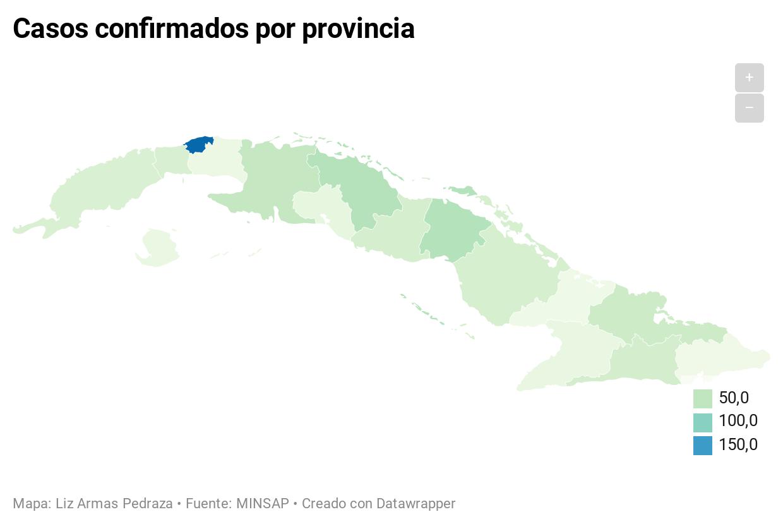 Количество случаев, подтвержденных в провинциях. Гранма и Лас Тунас являются провинциями с наименьшим количеством подтвержденных случаев COVID-19. (Лиз Армас Педраса)