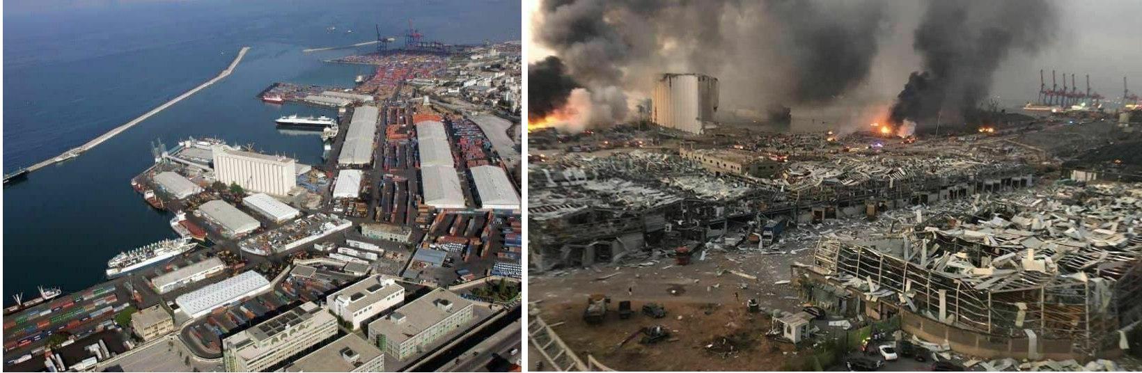 Порт в Бейруте до и после взрыва