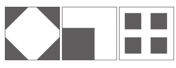 Рис. 1. Возможное расположение застроенных участков (темная заливка), общая площадь которых для каждого квадрата одинакова