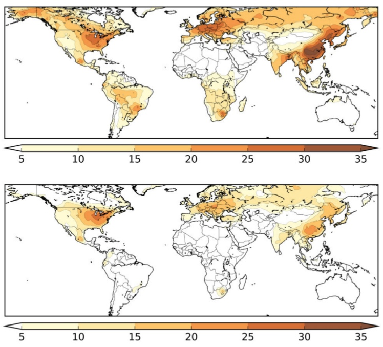 Вклад загрязнения воздуха в смертность от коронавируса, чем интенсивней цвета, тем выше