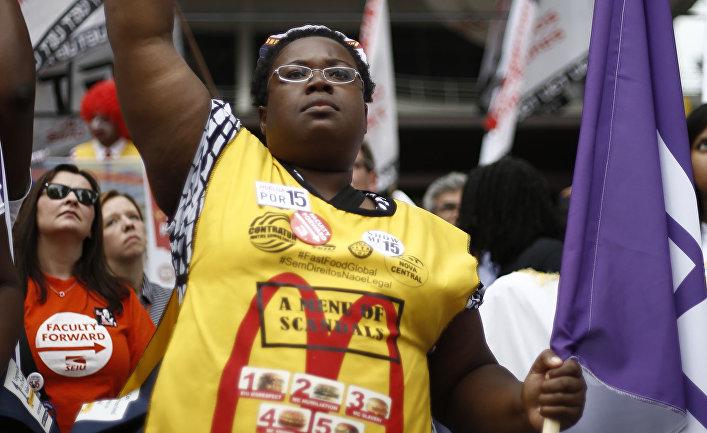 Акция протеста работников МакДоналдс в СанПаулу