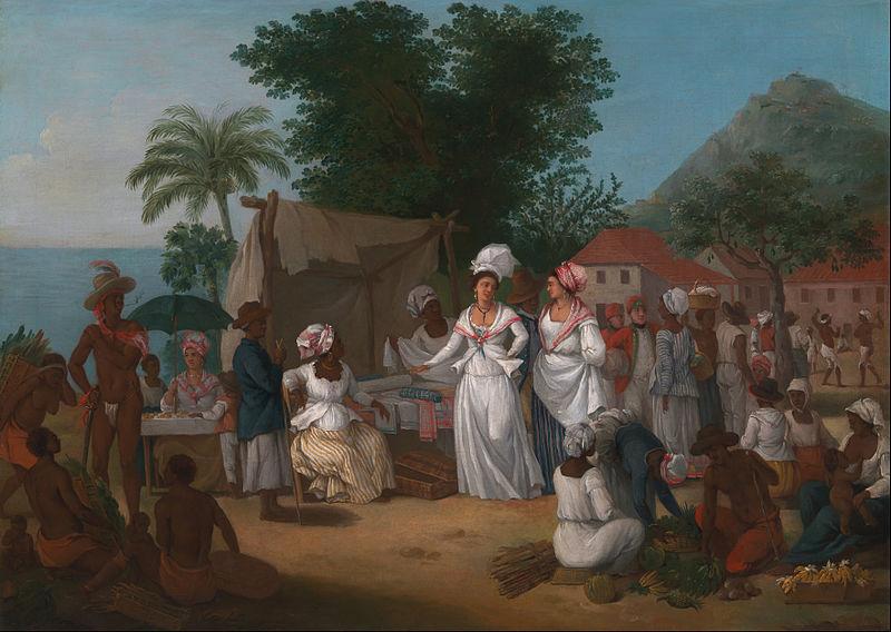 Полотняный рынок с порабощёнными африканцами. Британская Вест-Индия, около 1780 г.