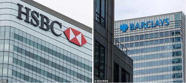 Barclays (штаб-квартира Canary Wharf, справа), RBS, HSBC (штаб-квартира Canary Wharf, слева) и Lloyds - одни из самых крупных британских кредиторов, содействующих  проектам помощи бедствующим меньшинствам, чьи предки были порабощены