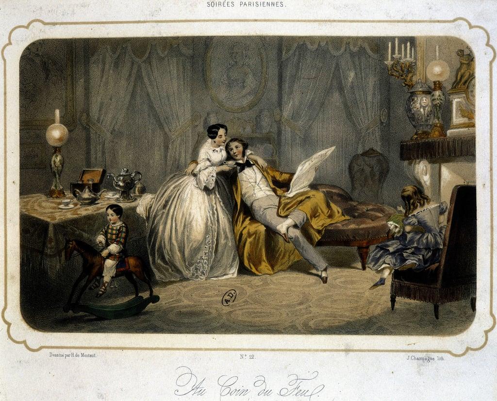 Анри де Монт. Буржуазная семья отдыхает в гостиной - литография, д.1820.