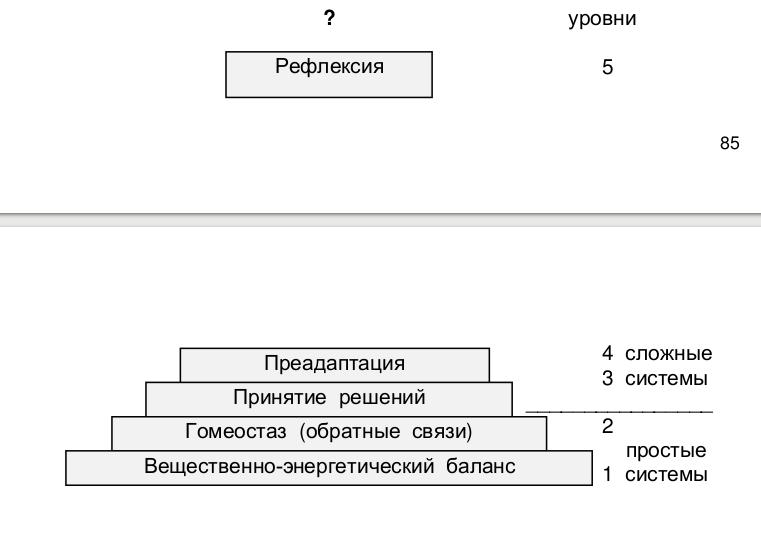 Пять уровней сложности организации систем. Из: Розенберг и др., 1998.
